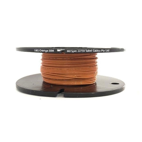 Tefzel Mil spec 22759 Wire | 18 Gauge-ORANGE-30M Roll | 18G-3RL OG | Price inc GST: