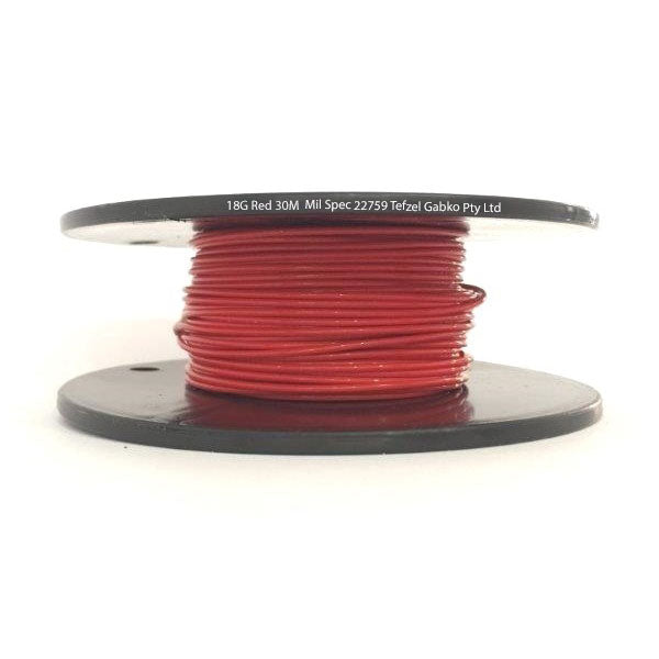 Tefzel Mil spec 22759 Wire | 18 Gauge-RED-30M Roll | 18G-2RL RD | Price inc GST: