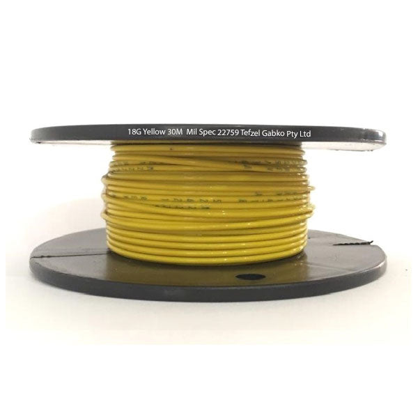 Tefzel Mil spec 22759 Wire | 18 Gauge-YELLOW-30M Roll | 18G-4RL YE | Price inc GST: