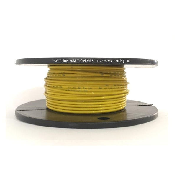 Tefzel Mil spec 22759 Wire | 20 Gauge-YELLOW-30M Roll | 20G-4RL YE | Price inc GST: