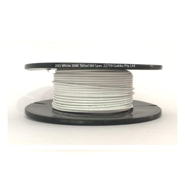 Tefzel Mil spec 22759 Wire | 20 Gauge-WHITE-30M Roll | 20G-9RL WS | Price inc GST: