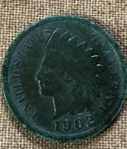 indian head penny with patina