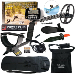 Garrett AT Gold Waterproof Metal Detector Bundle with 50' Carry Bag, Serrated Edge Shovel, Black Finds Pouch and Power Plus Battery