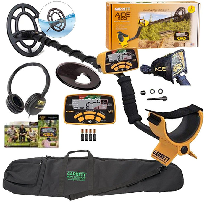 Garrett Ace 300 Metal Detector with Waterproof Search Coil Plus Garrett Bag