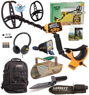 Garrett ACE 400 Metal Detector with Garrett Gear: Daypack, Sand Scoop, Digger