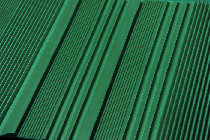"27""x10"" Trimmable Riffled TPR Light Weight Sluice Box Matting, Green Color"