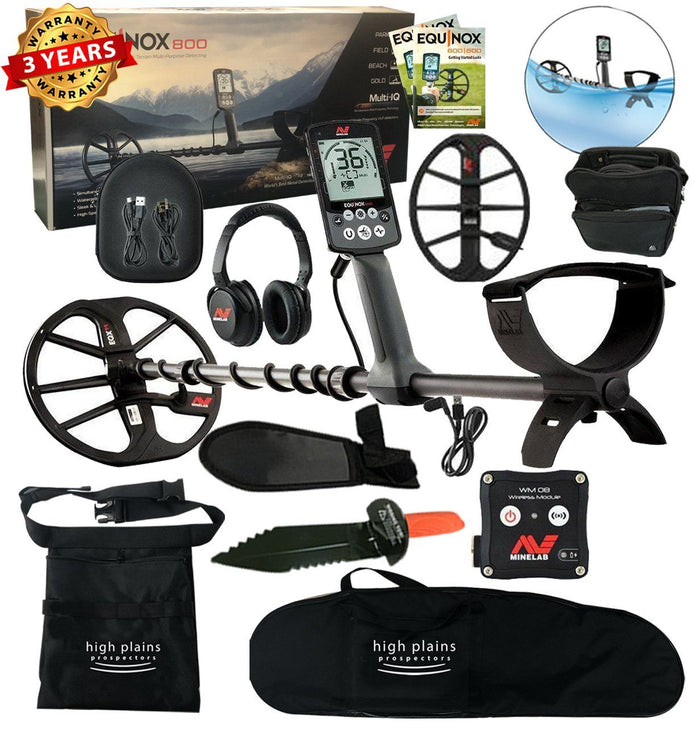 Minelab Equinox 800 Metal Detector, 15 inch Smart Coil, Free Gear