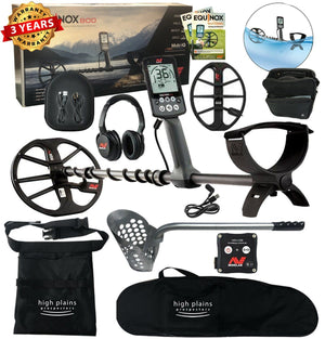 Minelab Equinox 800 Metal Detector, 15 inch Smart Coil, Beach Hunter Package
