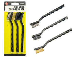 3PC Mini Wire Brush Set - Steel Wire, Brass Wire, and Nylon Wire