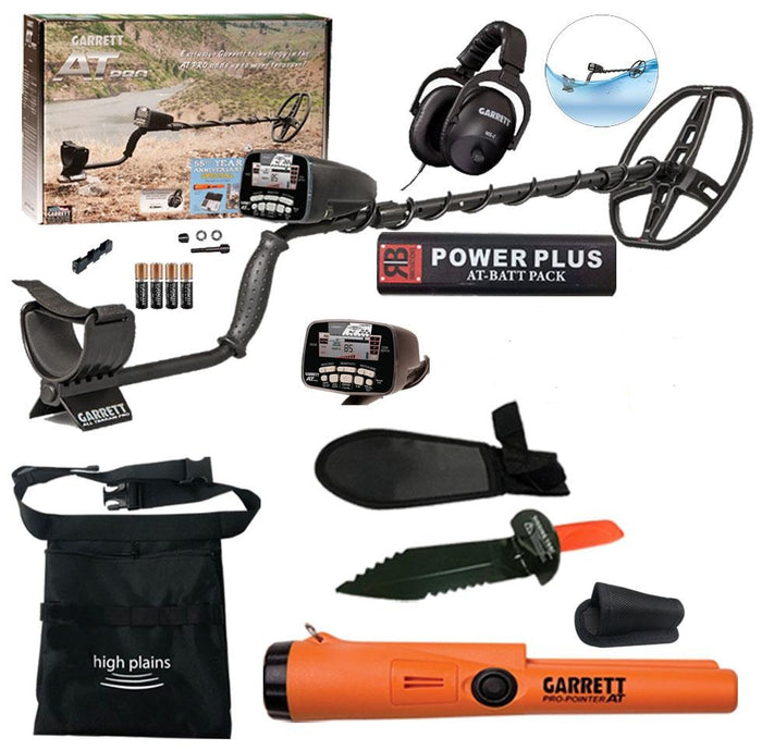 Garrett AT Pro Water Proof Metal Detector Bundle with, Metal Digging tool, and Black Finds Pouch and Power Plus Battery