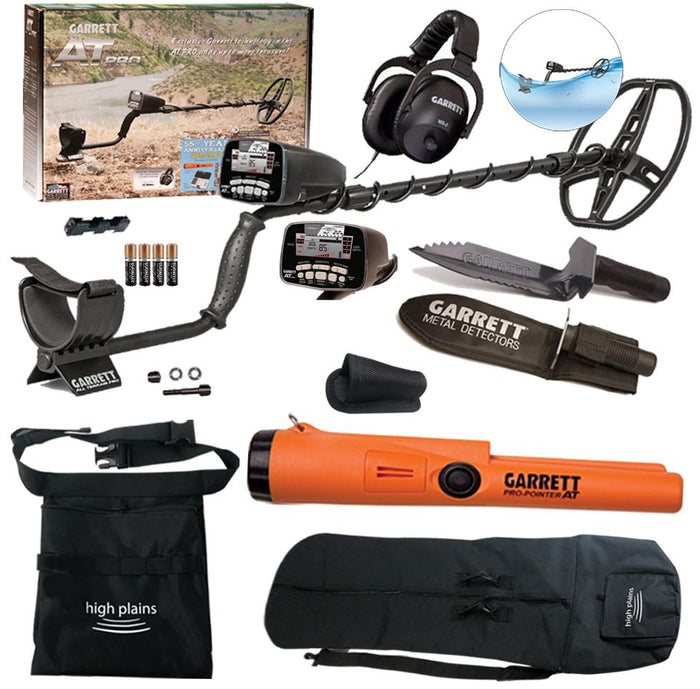 Garrett AT Pro Water Proof Metal Detector Spring Special with Pro Pointer AT & Garrett Edge Digger, High Plains Free Gear