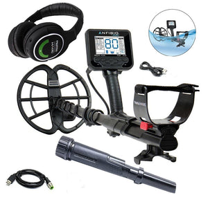 Anfibio Multi Frequency Waterproof Metal Detector, Wireless Headphones, and PulseDive Pointer