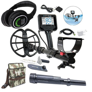 Anfibio Multi Frequency Waterproof Metal Detector, Wireless Headphones, PulseDive Pointer, Finds Pouch, and Premium Digger