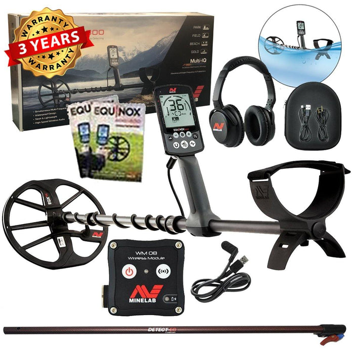 Minelab Equinox 800 Metal Detector with Free Red Upper Carbon Rod
