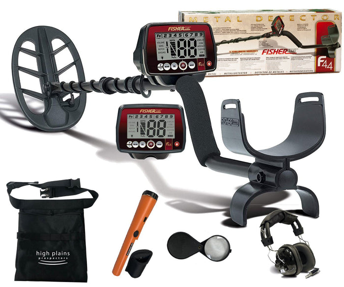 Fisher F44 Weatherproof Metal Detector with 11 in DD coil Free Gear and Headphones