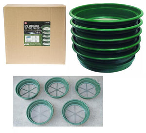 "5-Piece Sifting Pan set - Size 11"" Diameter Bottom, Top Diamater 13 1/4"""