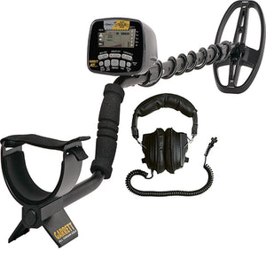 Garrett AT Gold Waterproof Metal Detector Bundle with 50' Carry Bag, Serrated Shovel and Black Finds Pouch