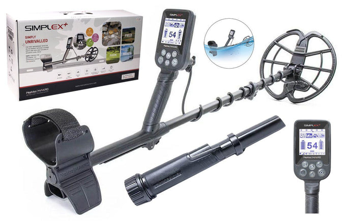 "Nokta Makro Simplex Plus Waterproof Metal detector with 11"" DD Coil and PulseDive Pin-Pointer"
