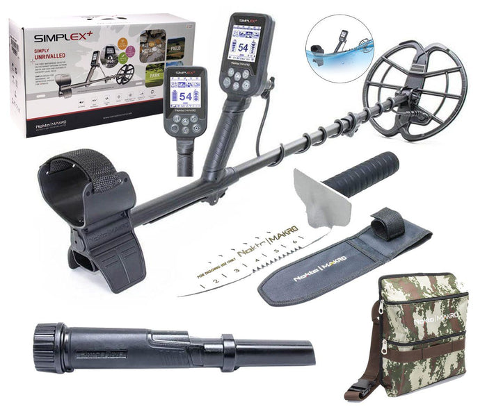 Nokta Makro Simplex Plus Waterproof Metal detector, PulseDive Pin-Pointer, Finds Pouch, and Premium Digger