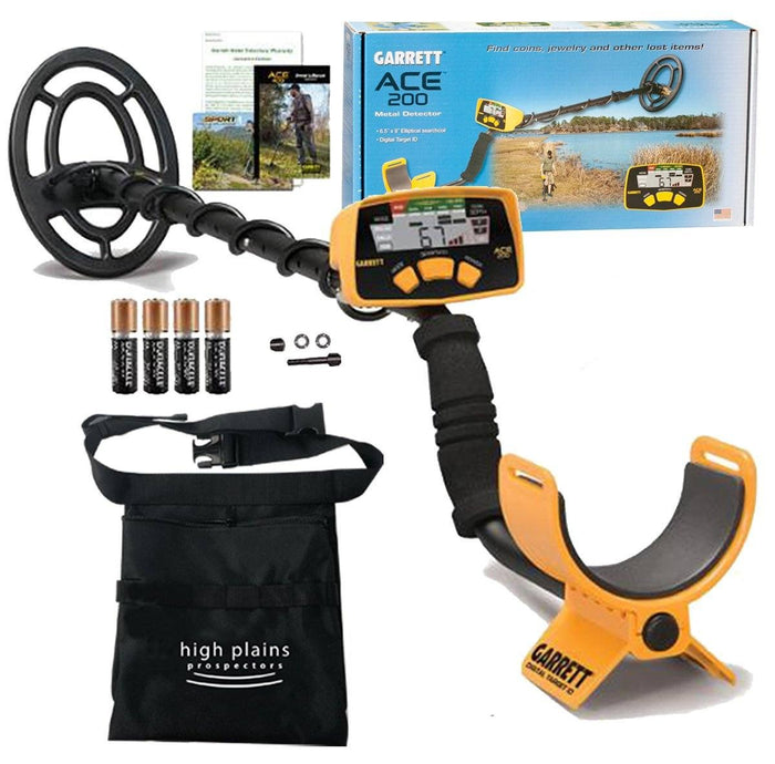 Garrett ACE 200 Metal Detector w/ Free High Plains Metal Detecting Finds Pouch Bundle