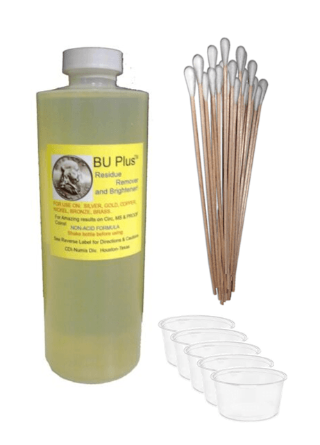 Coin & Relic Cleaning Kit - BU Plus Coin and Relic Residue Remover and Brightener 4 oz. Bottle, Cotton Swabs, and Containers