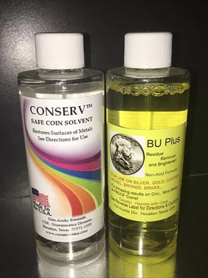 Coin Cleaning Duo - One BU Plus Coin and Relic Residue Remover and Brightener 4 oz. Bottle and One Conserv Safe Coin Cleaning Solvent