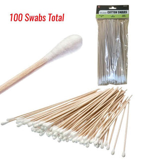 Cotton Swabs - One Tip, Wood Handle, Non Sterile - 100 Pack