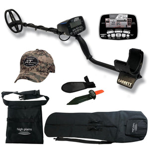 "Garrett AT Pro Waterproof Metal Detector Sports Bundle with 5"" x 8 "" DD Search Coil, Carry Bag, Serrated Edge Type Digger and Black Finds Pouch Garrett"