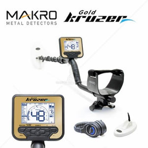 Gold Kruzer Waterproof Metal Detector + 2 Coils + Wireless Headphones + Nokta Waterproof Pointer + Baseball Cap + Digger Nokta Makro