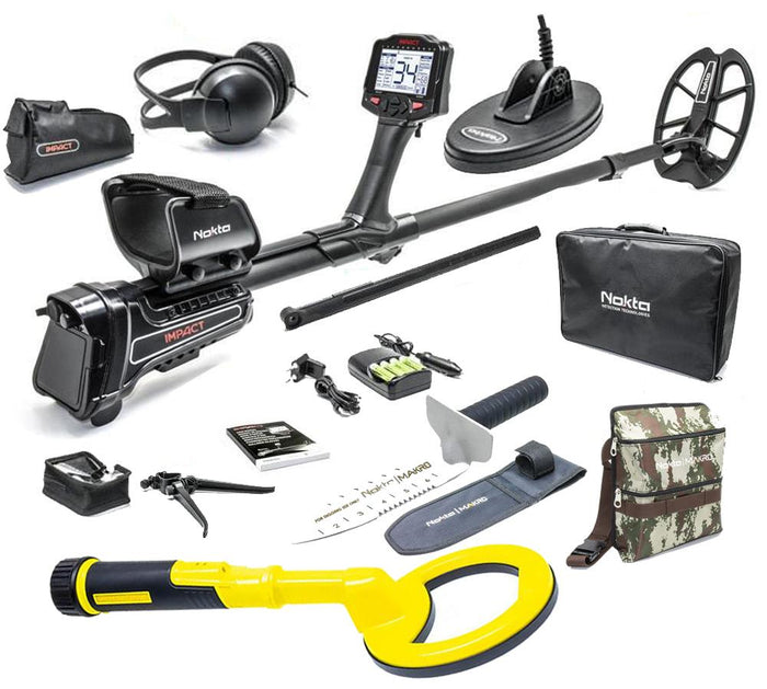 Nokta Makro Impact Pro Metal Detector Package with Nokta PulseDive 2-in-1, Finds Pouch and Digger