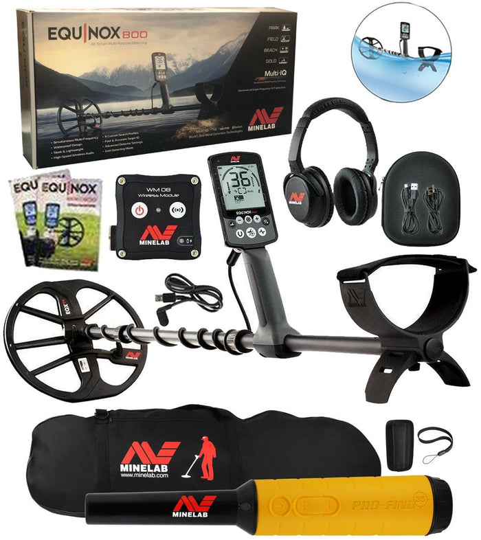 Equinox 800 Metal Detector Bundle, Pro-Find 35, Minelab Gear