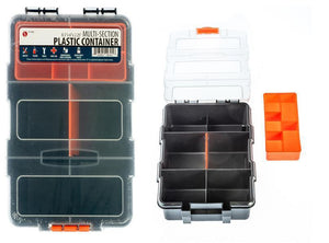 "Multi-Section Plastic Storage Box - Size: 8.1/2"" x 6"" x 2.3/4"" (Removable Tray & Divider)"