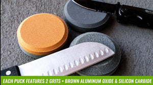 "3Pc/3"" Double Sided Round Sharpening Stone - Puck  Set"
