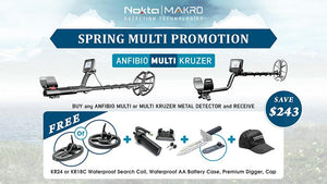 Anfibio Multi Waterproof Metal Detector, Spring Multi Promotion Choice of Coil