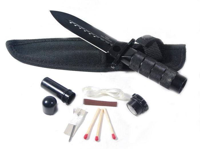 "8"" Hunting Stainless Steel Black Knife With Survival Kit & Pouch"