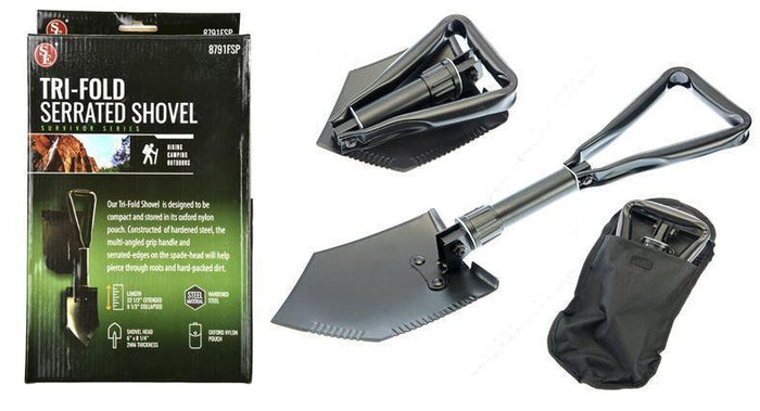 "22.5"" Premium Quality Black Tri-Fold Shovel with Carrying Case"