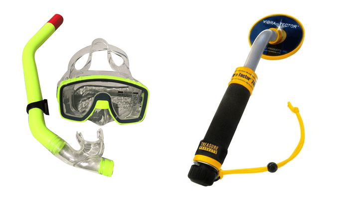 Treasure Products Vibra Tector 740 Waterproof Pinpointer Metal Detector - Surf Hunter Package with Snorkel and Dive Mask