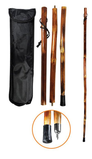 "3 piece Wood Walking Stick - 55"" Collapsible"