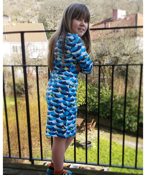 DUNS Blue Jumping Fish Long Sleeved Dress