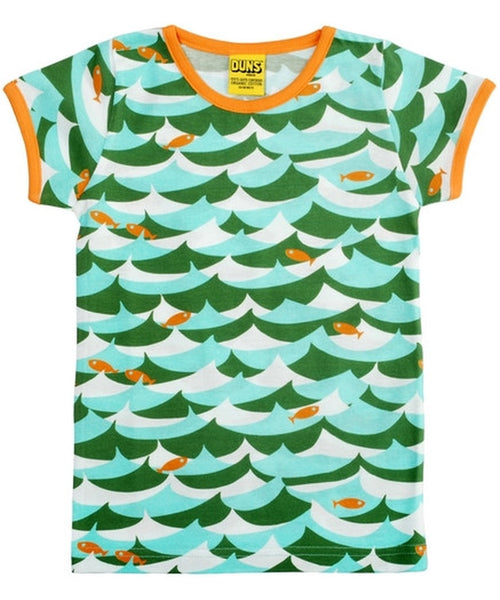 DUNS Green Jumping Fish Short Sleeved Top