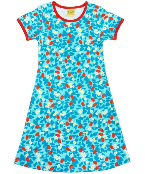 DUNS Strawberry Blue Short Sleeved Dress