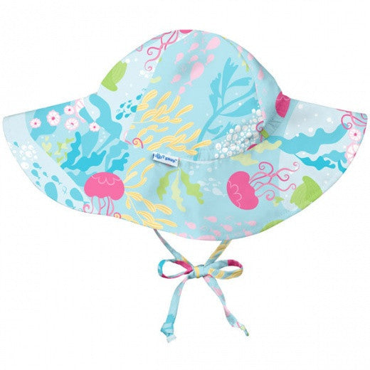 iPlay Wide Brim Sun Protection Hat - Aqua Coral Reef