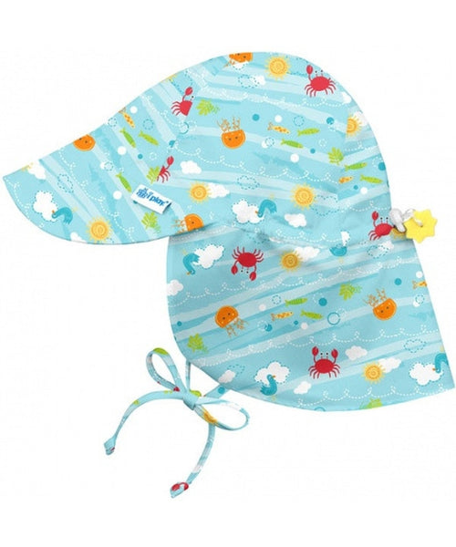iPlay Wide Sun Protection Hat with flap - Light Aqua Sea Friends