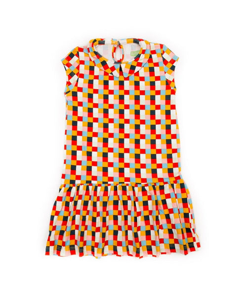 Lily-Balou 'Selma' dress with collar - Blocks print