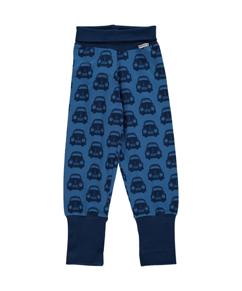 Maxomorra Blue Cars  rib pants