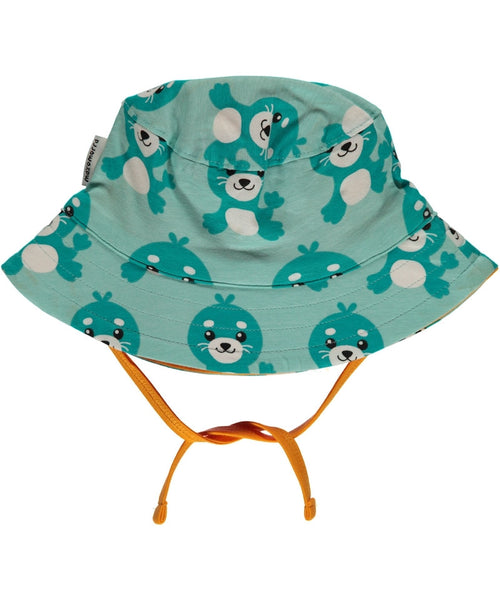 Maxomorra Seal baby sun hat with cord