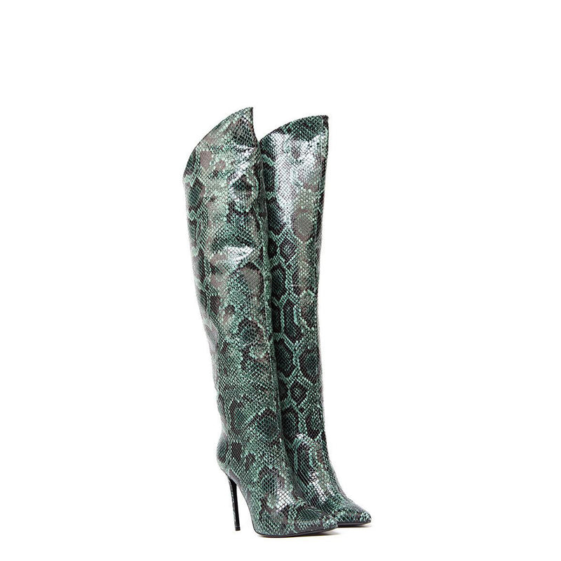 Lux High Heels Green Pyhton