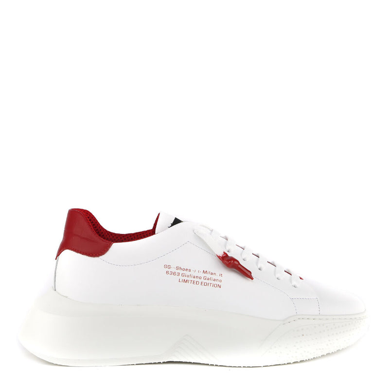 Nemesis White | Red Leather