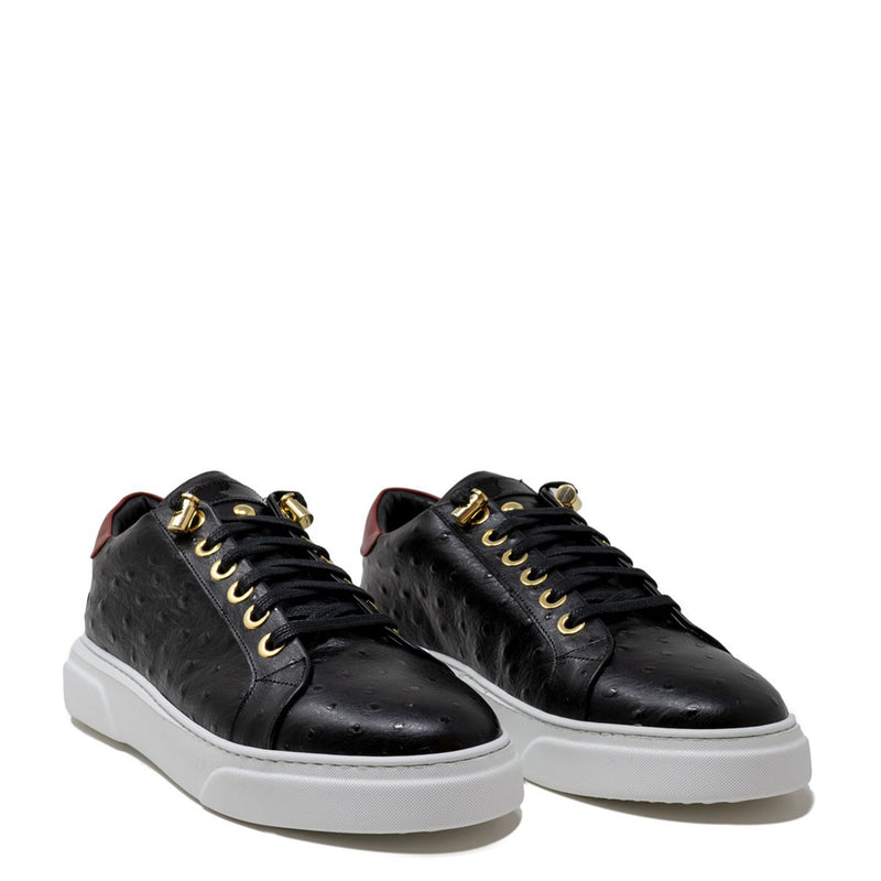 V.I.P. VII Low Black | Red Ostrich