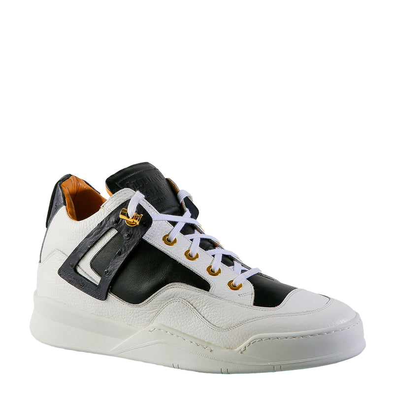 Power White | Black Ostrich | Leather